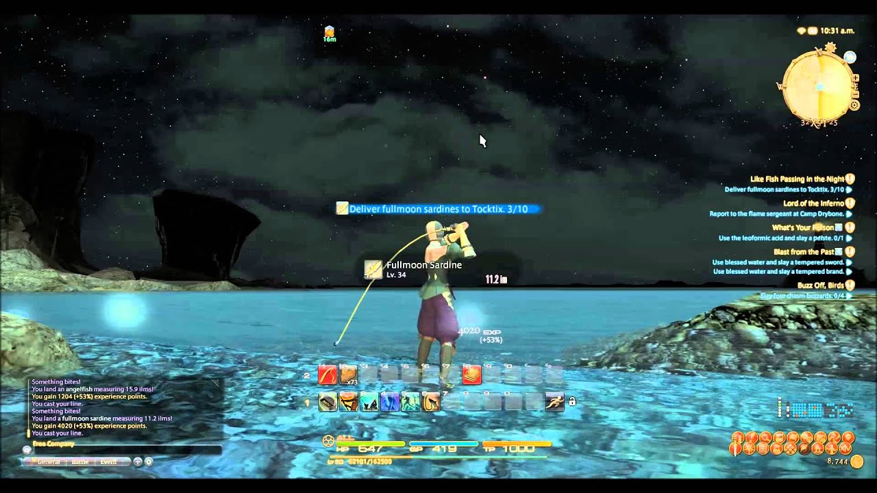 Ffxiv arr level 30 35 fishing hole youtube for Ffxiv fishing guide