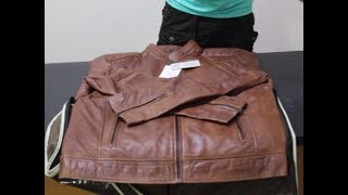 Unboxing of Brown Distressed Motorcycle Leather Jacket by Film Jackets