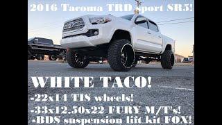LIFTED 2016 Toyota Tacoma TRD sport SR5 4x4 BDS Suspension lift 22x14 TIS wheels!