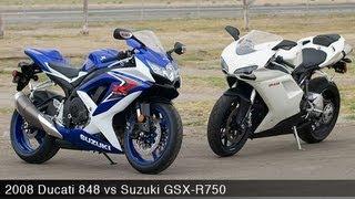 2008 Ducati 848 vs Suzuki GSX-R750 - MotoUSA