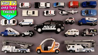 Police Vehicles For Kids Children Babies Toddlers | Police Car Ambulance Ladder Truck Helicopter
