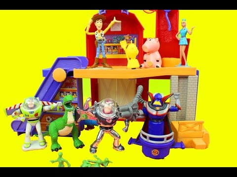 Toy Story 2 Deluxe Playset Buzz Lightyear, Woody, Rex, Zurg, Barbie Just4fun290 video