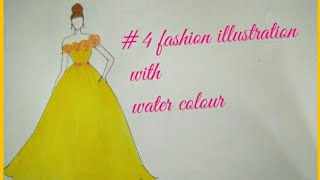 Yellow gown with water colour /fashion illustration