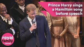 Prince Harry sings a Hamilton song before speech