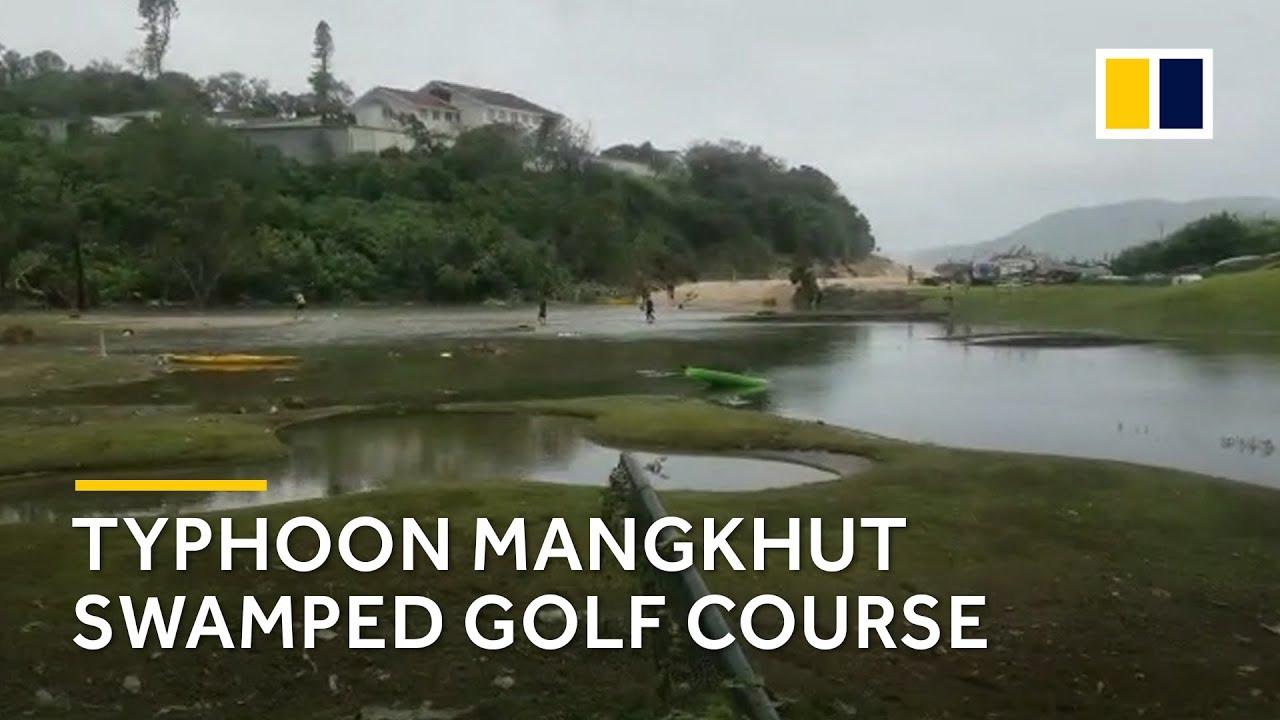 Typhoon Mangkhut swamps golf course in Shek O, Hong Kong