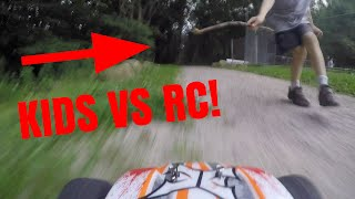 KIDS CHASE RC CAR!! - tylerf