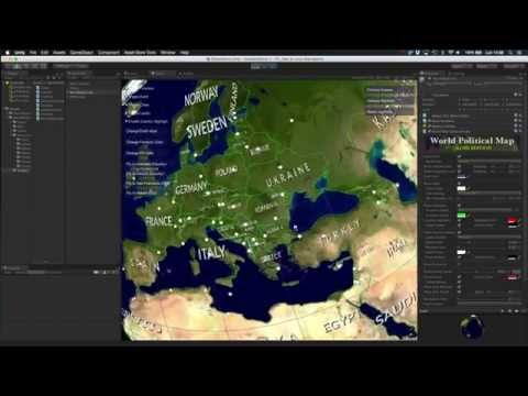 Labels feature in World Political Map for Unity V2.1