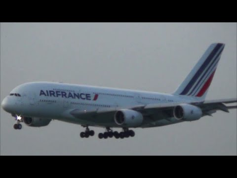 Airbus A380 Air France and Qantas Landing in Hong Kong Airport. Plane Spotting