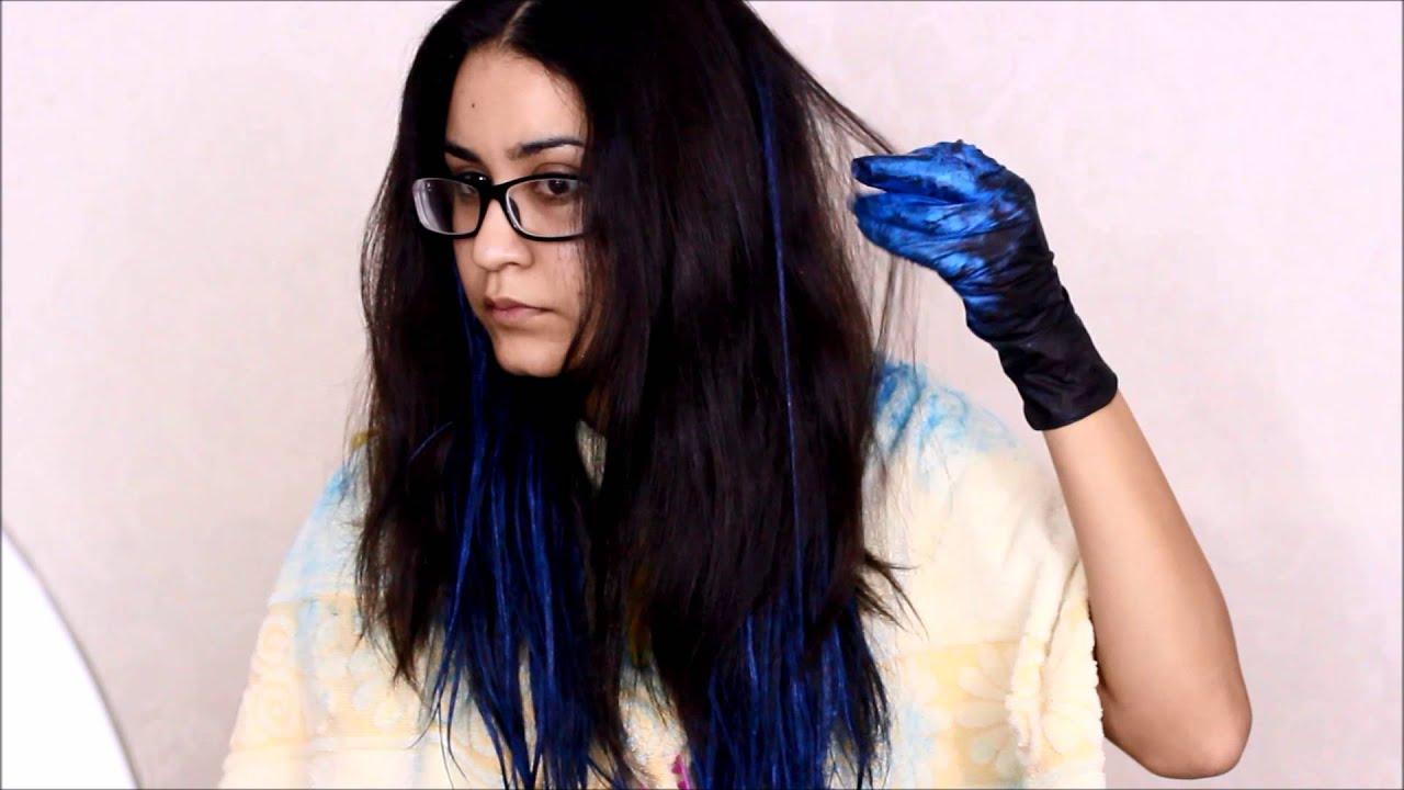 Dip dye hair black to brown