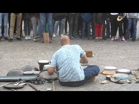 Baddest Tin Pot Drummer at Dam Square Amsterdam