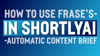Download lagu How to Use Frase's Automatic Content Briefs in ShortlyAI's Article Brief to Write Faster Using GPT-3