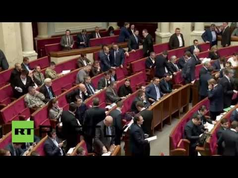 Ukraine: MPs disrupt Rada to protest corruption in Yatsenyuk's government