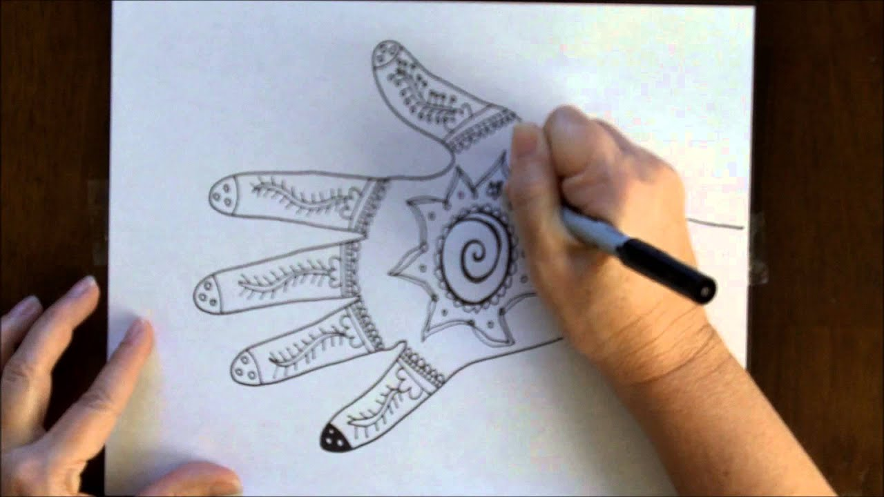 Mehndi Patterns On Paper For Kids : How to draw a henna mehndi hand design free art lesson