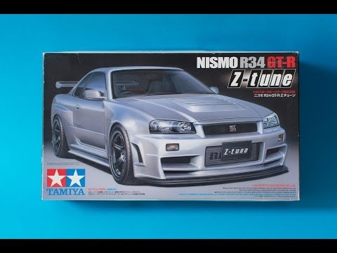 Tamiya 1/24 Nissan Skyline R34 GTR Z-Tune Model Kit Unboxing And Review