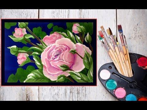 ¬идео как нарисовать розу гуашью