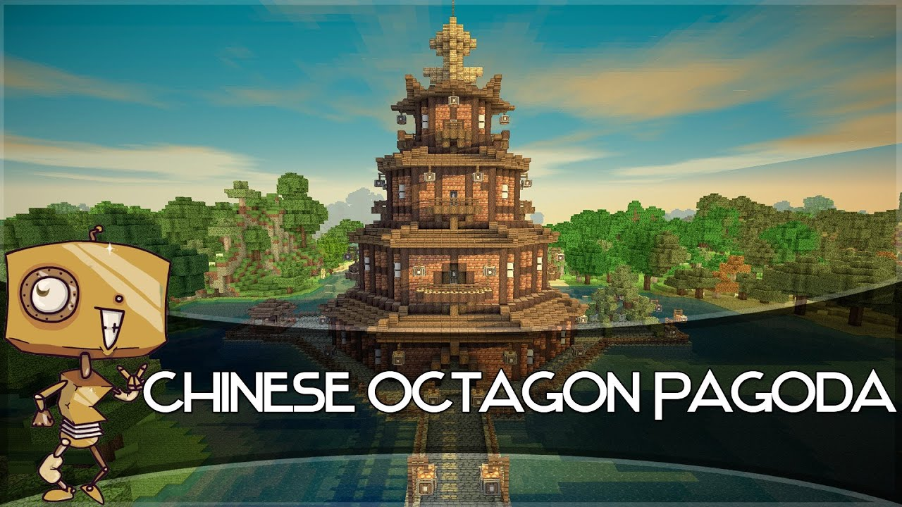 Minecraft Let S Build A Chinese Octagon Pagoda Part 2