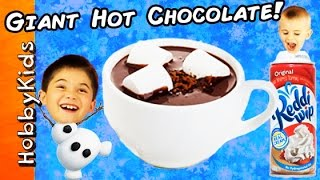 World's Biggest WARM CHOCOLATE Surprise Egg! TOYS + Make a HUGE Cocoa Drink by HobbyKidsTV