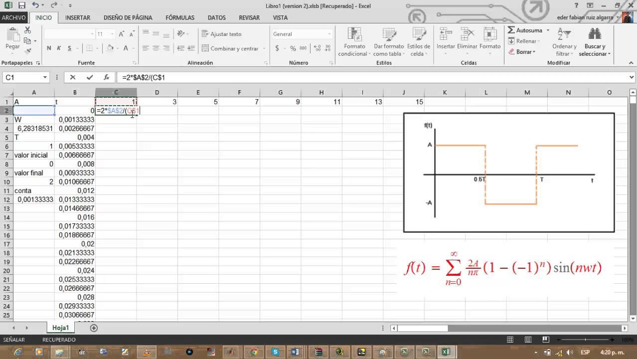 Series en Excel Graficar Series de Fourier en
