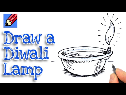 how to draw a Diwali Dyas Lamp