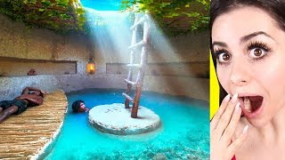 KIDS BUILD a secret UNDERGROUND pool house !