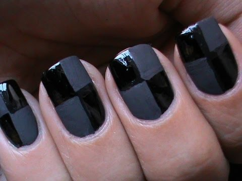 Matte Nail Polish Designs - Checkered Matte Nails - Matte Nail Art Tutorial How to DIY at Home