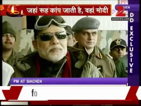 Pm Narendra Modi Visits Jawans In Siachen On Diwali video