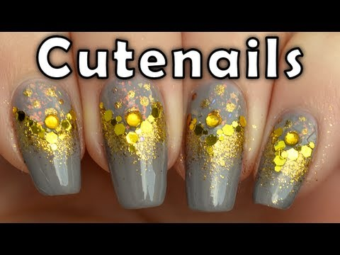 Gold glitter gradient nails. easy nail art tutorial for beginners by cute nails
