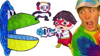 PAC-MAN 😫 Ryan ToysReview + Combo Panda Marker Coloring Challenge – Ryan Coloring Cartoon