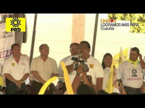 Cuautla: Tadeo Nava,candidato del PRD a la alcaldia, en su mutlitudinaria apertura de campaña