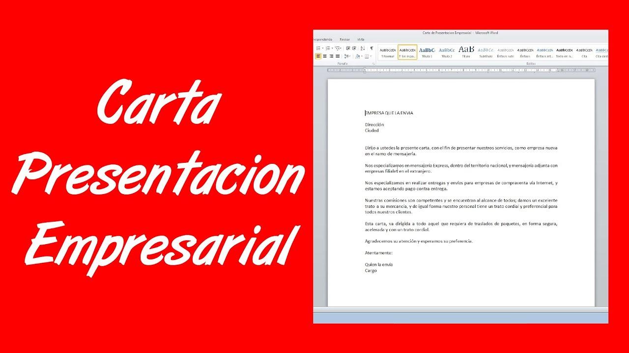 como hacer una carta de presentaci u00f3n empresarial