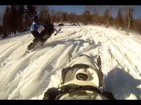 Rangeley Maine Snowmobile Group Wheelie Tail walk Spraying each other with Snow GOPR0476