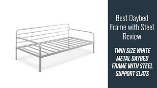 Daybed Frame Review - Twin size White Metal Daybed Frame with Steel Support Slats