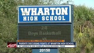 Parents discussing fights at Wharton High School