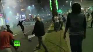 RAW: Anti-police brutality protesters clash with cops in Tel Aviv