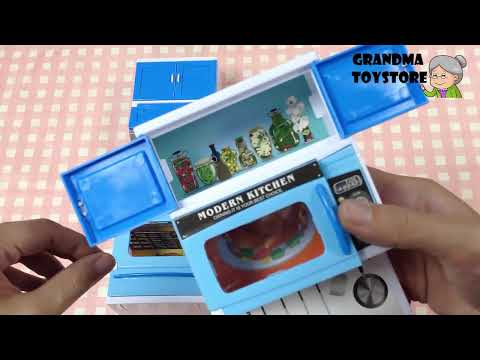 Unboxing TOYS Review/Demos - Doll House Babyblue Kitchen Cooking Oven Dishwasher Cabinets Stove