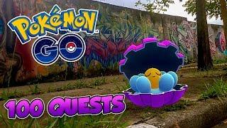 FIZ 100 QUESTS DE CLAMPERL! MITEI? -  Pokémon Go | Capturando Shiny (Parte 44) 3ª Gen (Parte 35)