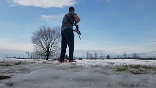 AR-15 Winter Shooting with a flying gallon water Jug :)