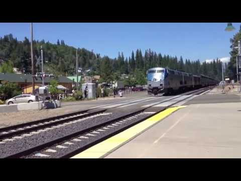 5 California Zephyr is arving into Colfax Amtrak a staion going west bound in CA