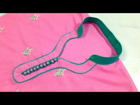 Latest collar suit  neck design cutting and stiching (kurti suit kameez )