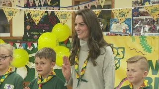 Kate sings Happy Birthday to the Cub Scouts
