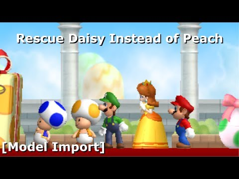 Rescue Daisy Instead of Peach in NSMBW [Model Import] (+Download) (11.8K Sub Special)