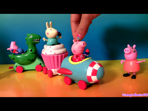 Peppa Pig Theme Park Train Ride With Brother George & Dinosaur T-Rex Play Doh Cupcakes Nickelodeon