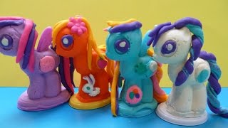 Tạo 4 Chú Pony Bằng Đất nặn Play- Doh Đồ Chơi Đất Nặn Play-Doh Rarity Rainbow Dash Apple Jack