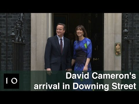Prime Minister David Cameron's arrival in Downing Street