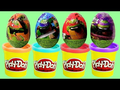 Play Doh TMNT Learn Colors with Surprise Eggs Teenage Mutant Ninja Turtles PlayDough Disney Toys