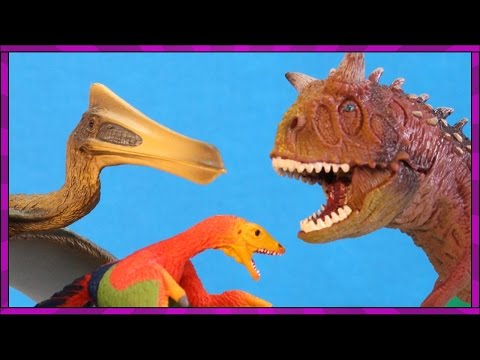 DINOSAUR CAVE Protects Dino Eggs Carnotaurus and Quetzalcoatlus Toy Dinosaurs by Schleich