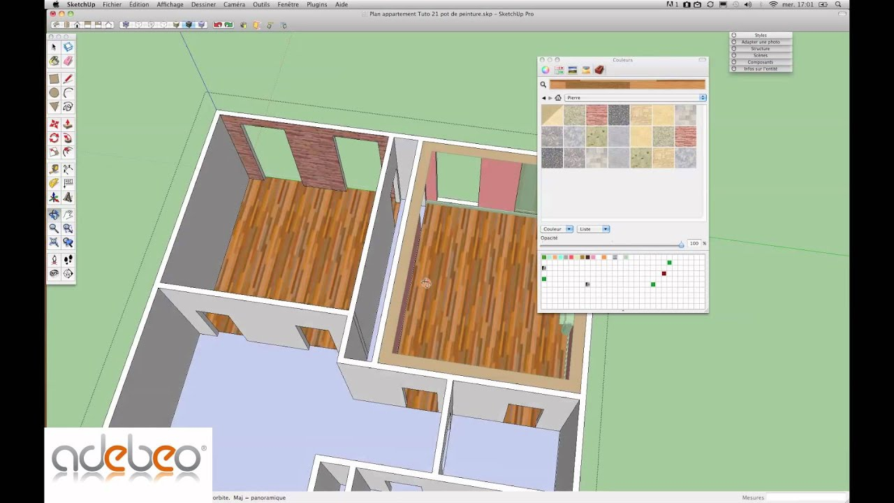tutoriel sketchup 21 outil pot de peinture mac youtube. Black Bedroom Furniture Sets. Home Design Ideas