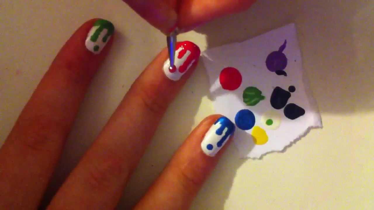 Color Drip Nails Dripping Paint Nail Tutorial