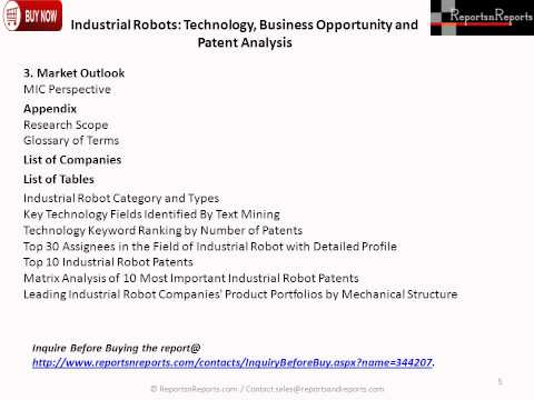 Industrial Robots Technology, Business Opportunity and Patent Analysis