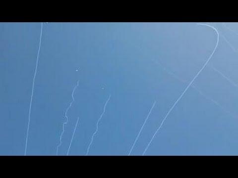 WAR-Israel & The Gaza border - Qassam Rockets Iintercepted by The Iron Dome